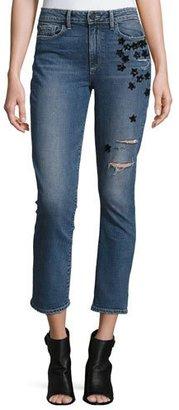 Paige Denim Jacqueline Star-Appliqué Cropped Straight-Leg Jeans, Jupiter Embellished $339 thestylecure.com