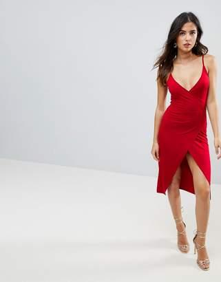 Asos DESIGN Sexy Wrap Midi Bodycon Dress