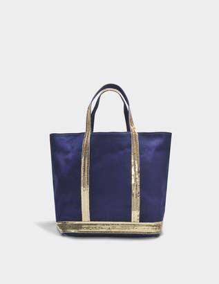 Vanessa Bruno Canvas and Sequins Medium Tote Bag in Indigo and Gold Cotton