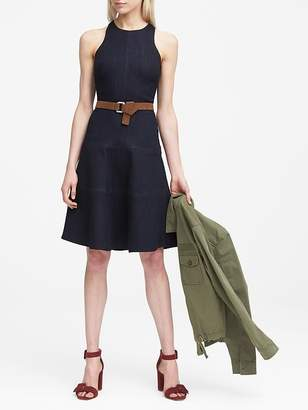 Banana Republic Petite Paneled Denim Fit-and-Flare Dress
