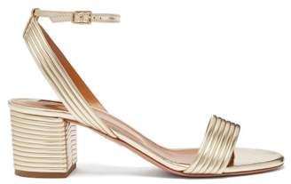 Aquazzura Sundance 50 Leather Platform Sandals - Womens - Light Gold