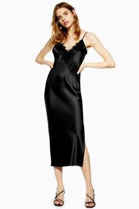 Topshop Womens Lace Satin Slip Dress - Black