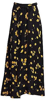 3.1 Phillip Lim Women's Cherry Print Tie-Waist Side Slit Maxi Skirt - Size 0