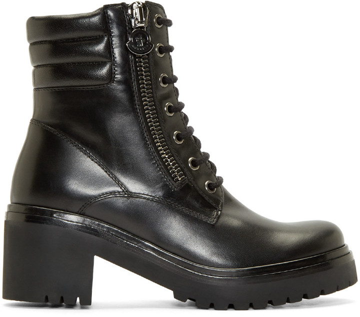Moncler Moncler Black Leather Viviane Combat Boots