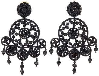 Oscar de la Renta Beaded Statement Clip Earrings