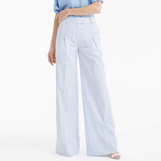 Ultra wide-leg pant in shirting stripe
