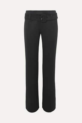 Prada Belted Tech-jersey Straight-leg Pants - Black