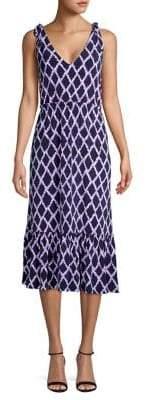 5b58a0011f7 MICHAEL Michael Kors Diamond Ikat Tile-Print Midi Dress