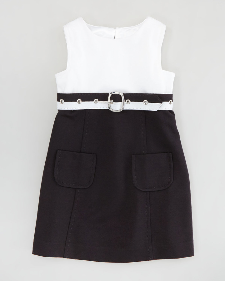 Milly Minis Cece Combo Belted Dress, White/Black