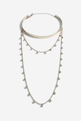 Topshop Crystal Multirow Drop Necklace