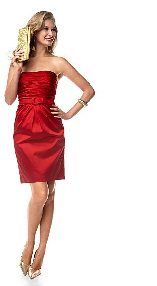 JONES NEW YORK DRESS Stretch Satin Strapless Dress with Belt