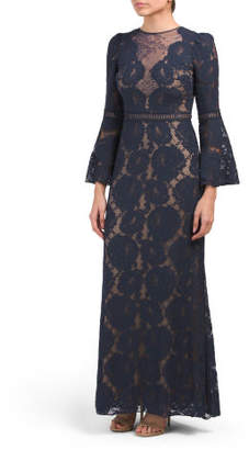Petite Bell Sleeve Lace Gown