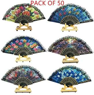 "woaiwo-q Spanish Floral Folding Hand Fan Flowers Pattern Lace Handheld Fans Size 9"""