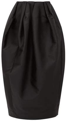 Marques Almeida Marques'almeida - High Rise Pleated Faille Skirt - Womens - Black
