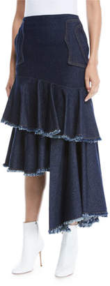 Johanna Ortiz Urban Legend High-Waist Asymmetric Denim Skirt w/ Cutoff Tiers