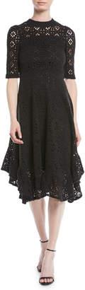 See by Chloe Short-Sleeve Cutout Lace A-Line Dress w/ Ruffled Hem