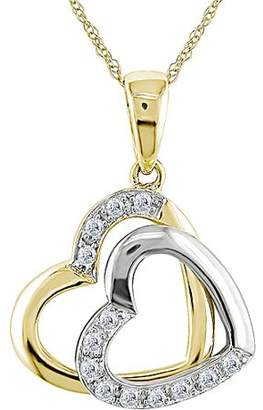 Miabella Diamond Accent 10kt Two-Tone Gold Double-Heart Pendant, 17""