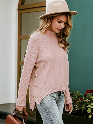 Shein Simplee Button side High Low Hem Sweater