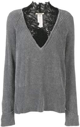 Roberto Cavalli lace trimmed V-neck jumper