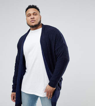 Asos Plus Boucle Longline Cardigan In Navy