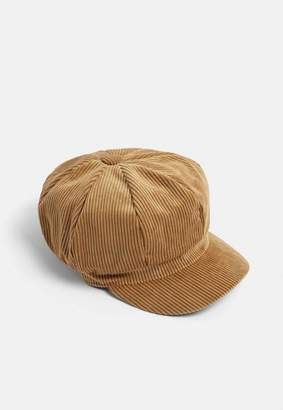 Missguided Brown Cord Baker Boy Hat