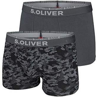S'Oliver Bags) Men's 26.899.97.4277 Boxer Shorts AOP & Solid Grey A, (Size: 8)