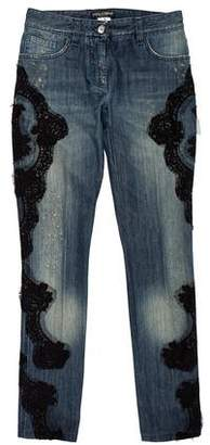 Dolce & Gabbana Lace-Accented Mid-Rise Jeans