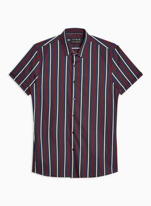 Topman Mens Navy And Burgundy Stripe Stretch Skinny Shirt
