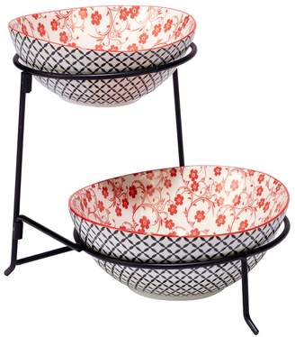 Certified International Red Floral Lattice 2-Tier Server with Oval Bowls