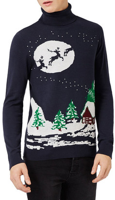 TOPMAN Slim Fit Holiday Turtleneck Sweater $55 thestylecure.com
