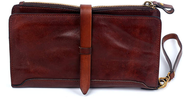 Brown Casey Leather Clutch