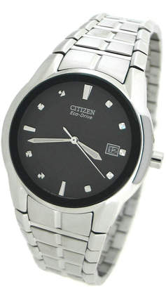 Citizen Men's 37mm Eco-Drive Watch w/ Bracelet, Silver/Black
