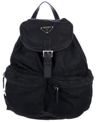 Prada Saffiano-Trimmed Tessuto Backpack