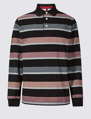 Marks and Spencer Slim Fit Pure Cotton Striped Rugby Top