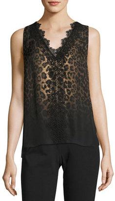 Elie Tahari Silvie Sleeveless Lace-Trimmed Leopard-Print Silk Blouse, Multi $298 thestylecure.com