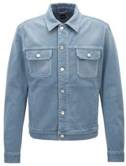 BOSS Hugo Fitted jacket in colored stretch denim M Open Blue