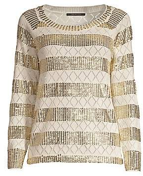 Kobi Halperin Women's Melita Embellished Metallic Stripe Eyelet Wool Sweater