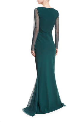 Chiara Boni Babs Sheer Long-Sleeve Mermaid Gown