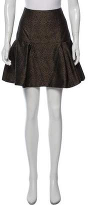 Fendi Flared Patterned Mini Skirt