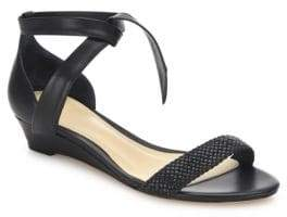 Alexandre Birman Atenah Woven Leather Demi-Wedge Sandals