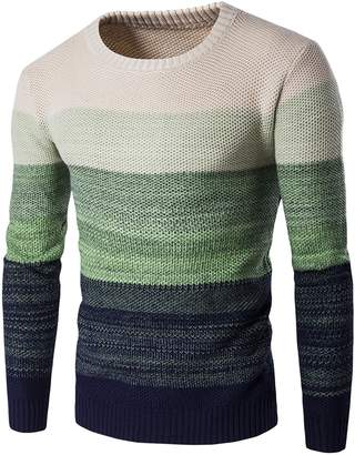 WSLCN Mens Chic Warm Coton Sweater Gradient Color Pullover Thick Knitting Crew Neck Jumper CA L (Asian XXL)