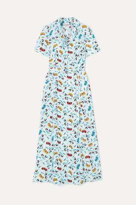 HVN Long Maria Printed Silk Crepe De Chine Dress - Sky blue