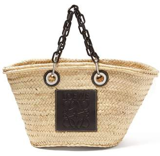 Loewe Medium Chain Handle Woven Straw Bag - Womens - Black Multi