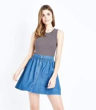 New Look Blue Button Front Lightweight Denim Mini Skirt