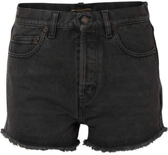 Saint Laurent Frayed Denim Shorts - Charcoal