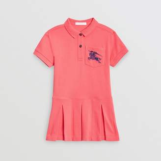 Burberry Childrens EKD Logo Cotton Polo Dress