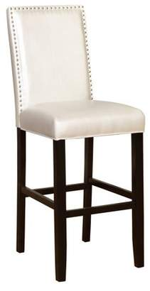 Linon Stewart Faux Leather Bar Stool, 30 inch Seat Height, Pearl