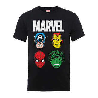 Marvel Comics Main Character Faces Men's Black T-Shirt