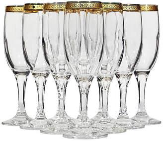 One Kings Lane Vintage 1970s Gilt-Rim Champagne Flutes - Set of 10