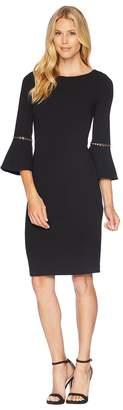 Calvin Klein Bell Sleeve Dress with Hardwire Detail CD8C14LJ Women's Dress